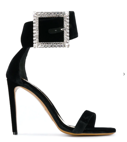 black stiletto sandal with diamond buckle from alexandre vauthier