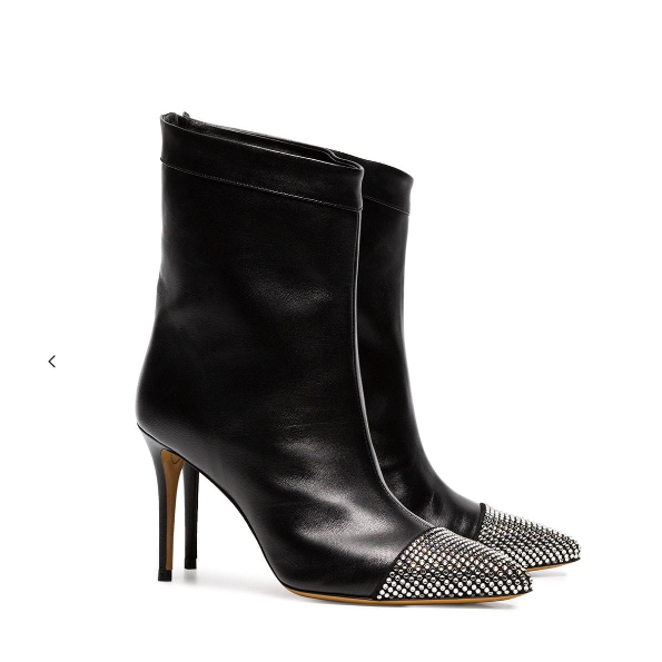 black stiletto boot with diamond in front from alexandre vauthier