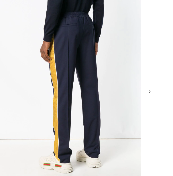 NAVY BLUE TRACKPANTS WITH YELLOW SIDE PANEL FROM KENZO