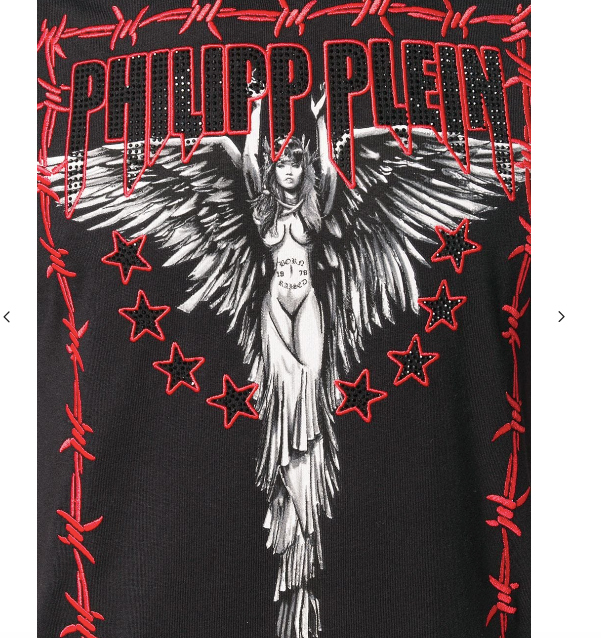 Black tshirt with red angel details from Philipp Plein