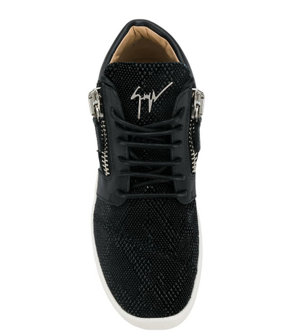 black runner with dot details and leather from giuseppe zanotti