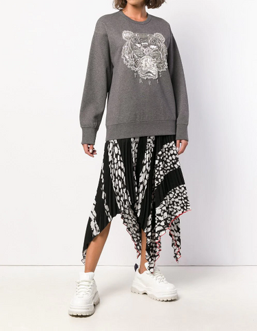 GREY TIGER SWEATSHIRT WITH CRYSTAL STONES FROM KENZO