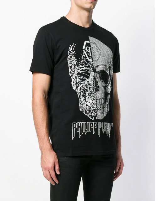 BLACK TSHIRT WITH SILVER SCULL STONES FROM PHILIPP PLEIN