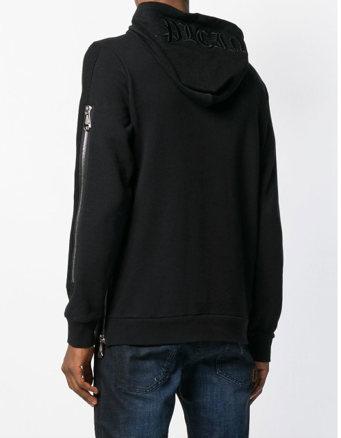 Black hoodie with zip details from Philipp Plein