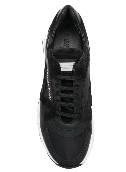 BLACK LEATHER AND SUEDE NYLON RUNNER FROM PHILIPP PLEIN