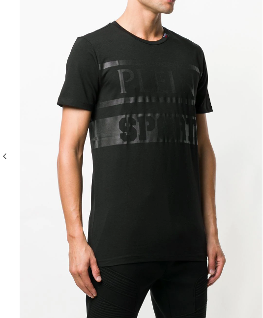 BLACK TSHIRT WITH PLEIN SPORT LOGO FROM PHILIPP PLEIN