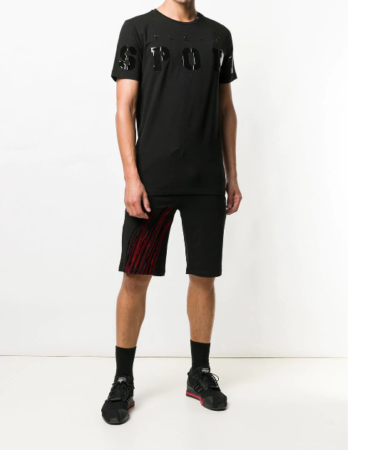 BLACK TSHIRT WITH PATENT LETTER FROM PHILIPP PLEIN SPORT