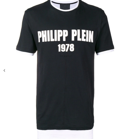BLACK TSHIRT WITH WHITE LOGO FROM PHILIPP PLEIN