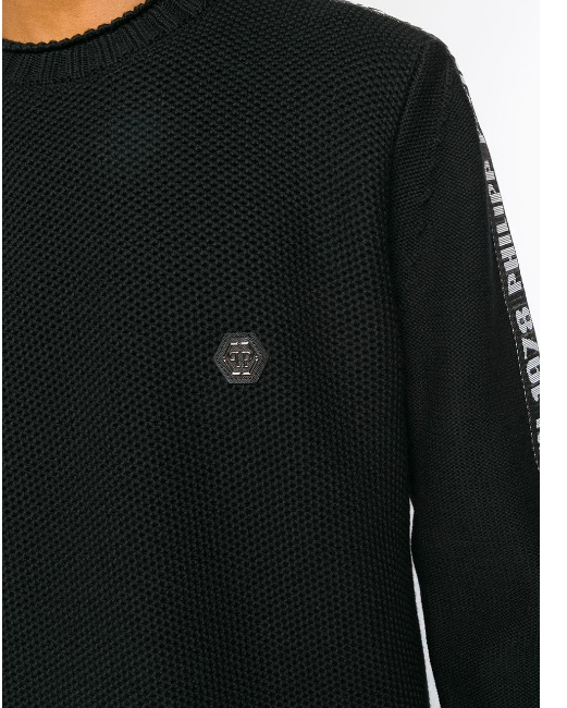 BLACK KNITWEAR WITH BAND LOGO IN WHITE FROM PHILIPP PLEIN