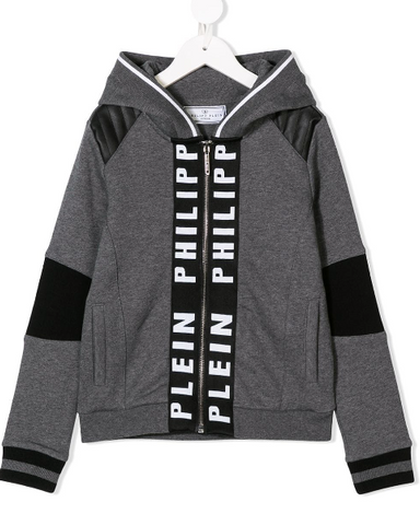 GREY HOODIE WITH LOGO BAND FOR JUNIOR FROM PHILIPP PLEIN