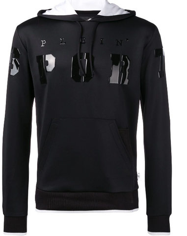 black hoodie with sport logo and patent from  philipp plein