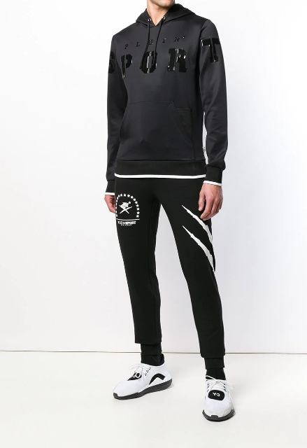 BLACK HOODIE WITH SPORT LOGO IN PATENT FROM PHILIPP PLEIN