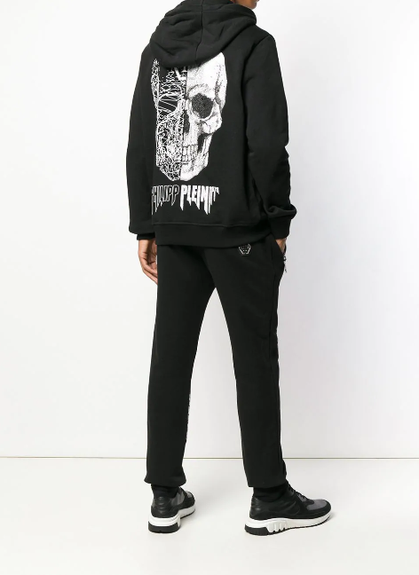 BLACK HODDIE WITH CRYSTAL SCULL ON THE BACK FROM PHILIPP PLEIN