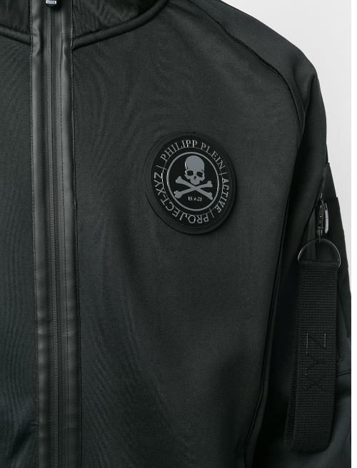 BLACK SWEAT JACKET WITH CRYSTAL SCULL ON THE BACK FROM PHILIPP PLEIN