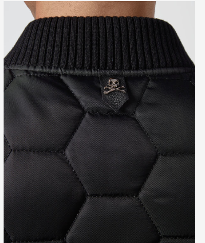 BLACK QUILT JACKET WITH LOGO BAND FROM PHILIPP PLEIN