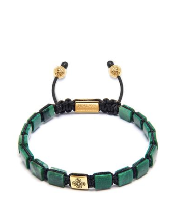 GREEN MINI FLATBEAD BRACELET WITH GOLD BEAD FROM NIALAYA