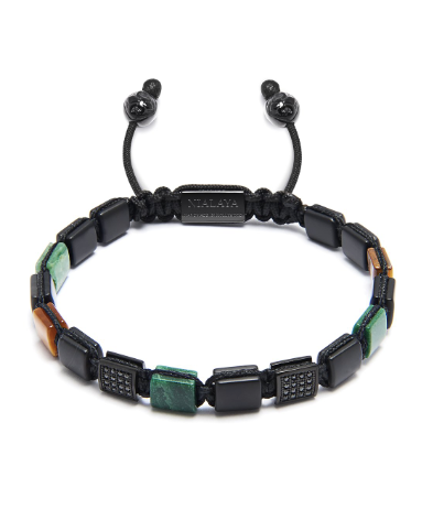 MINI FLAT BEAD BRACELET BRAUN GREEN BLACK STONES FROM NIALAYA
