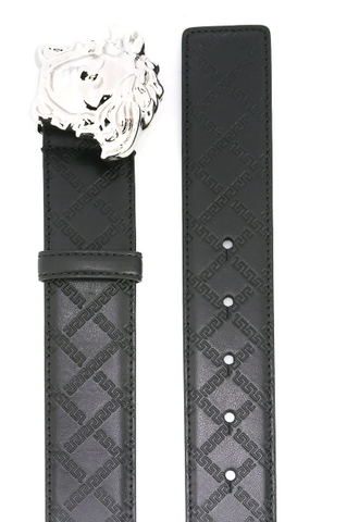 BLACK LEATHER BELT WITH GREEK LOGO AND SILVER MEDUSA FROM VERSACE