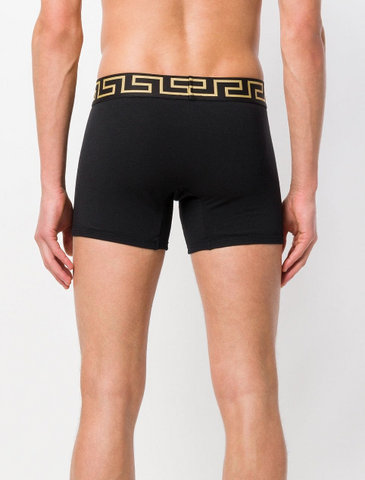 2 PACK BLACK BOXER SHORTS WITH GREEK GOLD FROM VERSACE