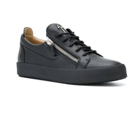 Giuseppe Zanotti sneakers black leather with silver zips