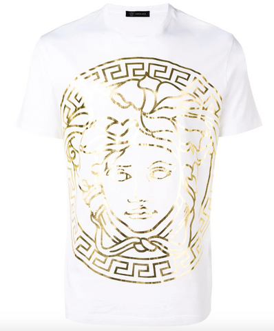Versace t-shirt white with gold medusa