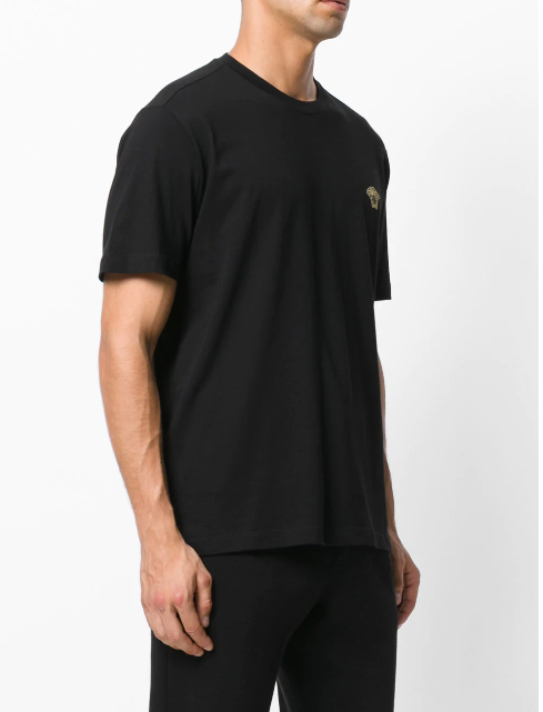 BLACK PLAIN TSHIRT WITH SMALL MEDUSA IN GOLD FROM VERSACE
