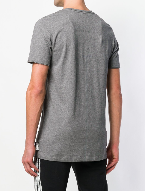 GREY TSHIRT WITH DETAILS ON THE SHOULDER AND LOGO FROM PHILIPP PLEIN