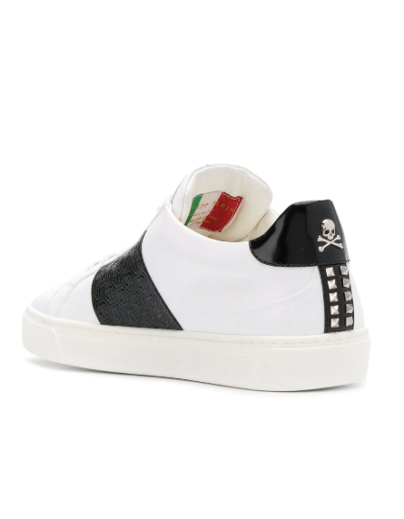 WHITE SNEAKER WITH BLACK STRIPE AND STUDS FROM PHILIPP PLEIN