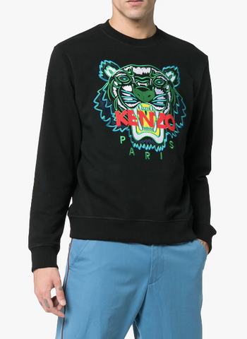 BLACK TIGER SWEAT WITH GREEN TIGER AND RED LOGO FROM KENZO