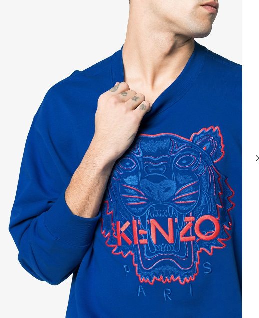 BRIGHT BLUE TIGER SWEAT WITH RED LOGO FROM KENZO