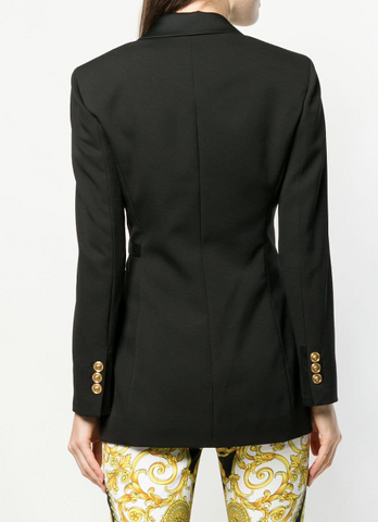 black suit jacket with belt from versace