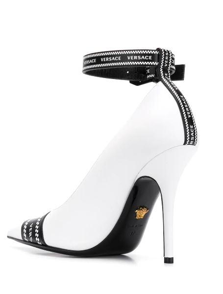 WHITE PUMP WITH LOGO BAND FROM VERSACE