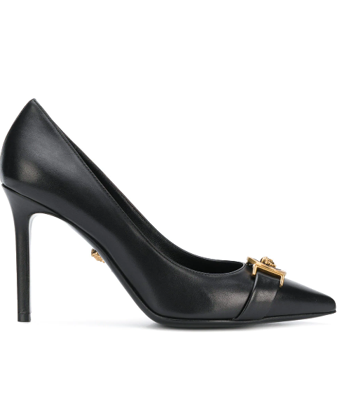 BLACK PUMP WITH GOLD MEDUSA FROM VERSACE