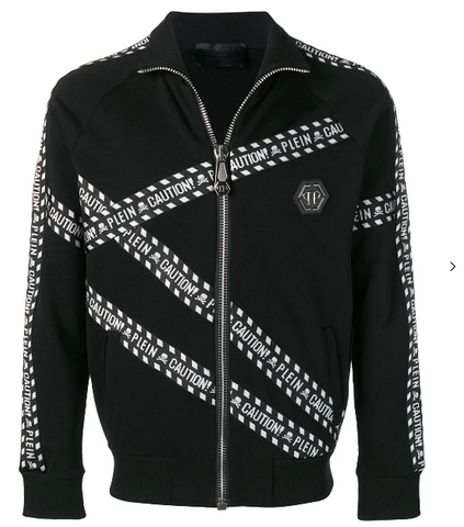 BLACK TRACK JACKET WITH CROSS BANDS LOGO FROM PHILIPP PLEIN