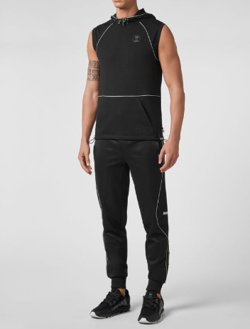 black hoodie with piping from philipp plein active wear