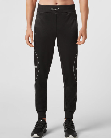 black active wear track pants with piping from philipp plein