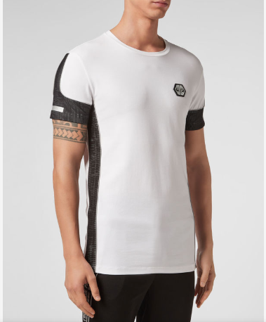 WHITE TSHIRT WITH LOGO AND BLACK NET DETAIL FROM PHILIPP PLEIN