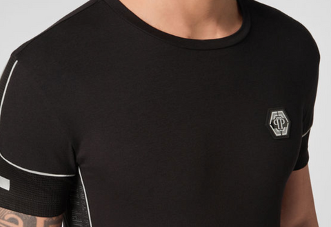 BLACK TSHIRT WITH NET AND SILVER GREY PIPING FROM PHILIPP PLEIN