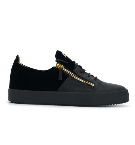 BLACK SNEAKER WITH BLACK VELVET AND GOLD ZIP FROM GIUSEPPE ZANOTTI