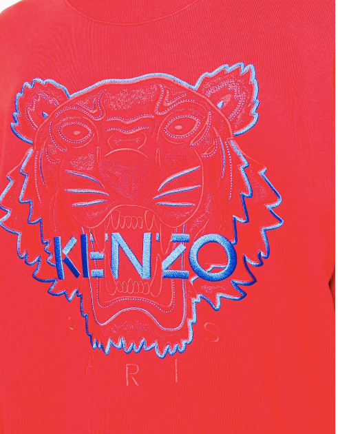 BRIGHT RED TIGER SWEATSHIRT WITH BLUE STICHES FROM KENZO