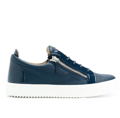 BLUE LOW CUT SNEAKER WITH SILVER ZIP AND PATENT FROM GIUSEPPE ZANOTTI