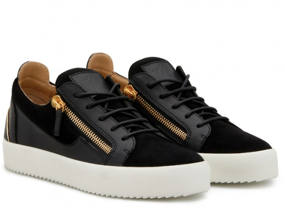Black suede and leather sneaker with gold on the heel from Giuseppe Zanotti