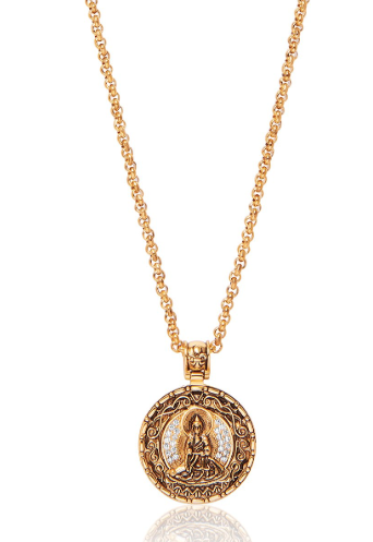 GOLD BUDDHA AMULET CHAIN WITH WHITE CZ DIAMONDS