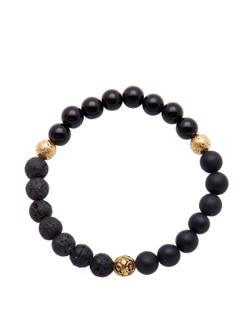 BLACK MATTE ONYX LAVA STONE BRACELET WITH GOLD FROM NIALAYA