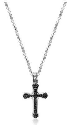 SILVER CROSS CHAIN WITH BLACK CZ DIAMONDS FROM NIALAYA