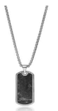 DOG TAG IN BLACK WITH SILVER FINISH FROM NIALAYA