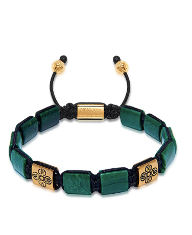 FLAT BEAD BRACELET IN GREEN WITH GOLD FROM NIALAYA