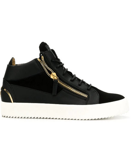 black hightop with gold behind  and white sole from  giuseppe zanotti