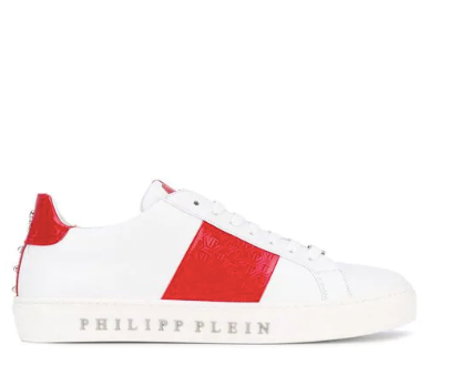 WHITE LOW TOP WITH RED DETAIL FROM PHILIPP PLEIN