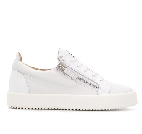 white low sneaker with silver zip and patent from giuseppe zanotti